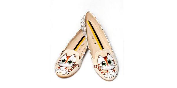 Dámske smotanové loafers s mačičkami The Bees