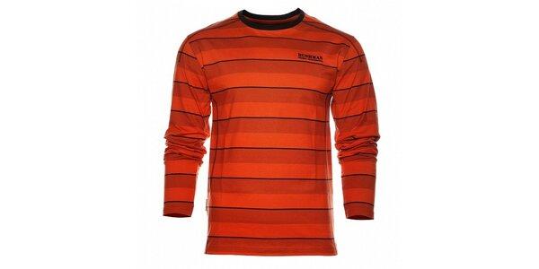 Pánske oranžové prúžkované tričko Bushman s dlhým rukávom