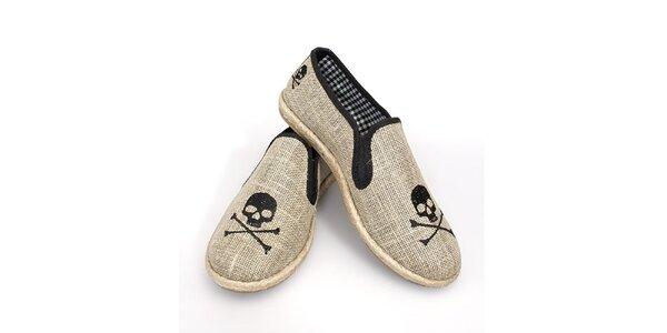 Dámske šedé topánočky s lebkami The Bees