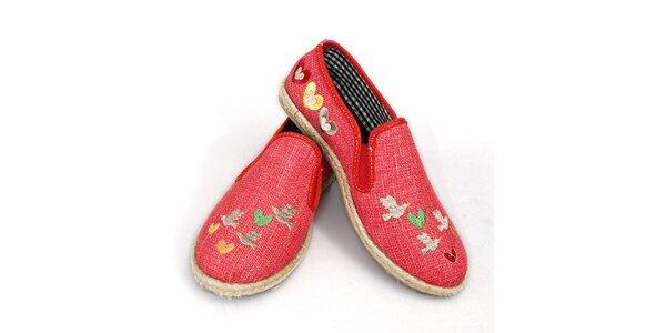 Dámske ružové topánočky s výšivkou vtáčikov The Bees