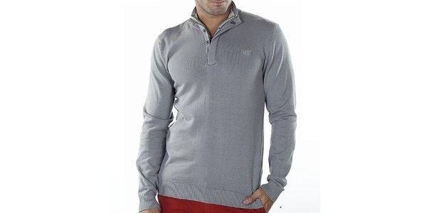 Pánsky svetlo šedý sveter so zipsom Bendorff