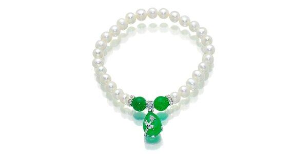 Biely perlový náramok Orchira s prirodzene zeleným malajským nefritom