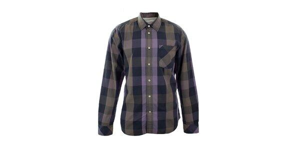 Pánska fialová kockovaná košeľa Big Star