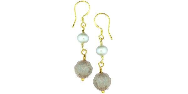 Dámske náušnice Orchira s perlou a chalcedonom