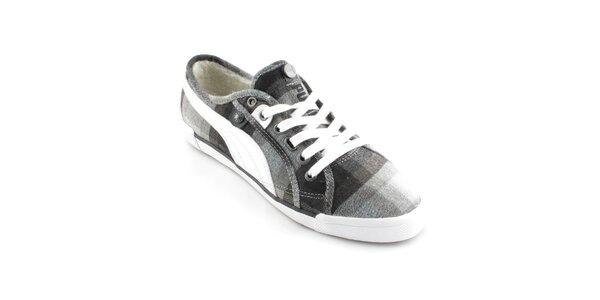 Dámske čierno-šedé tenisky Puma s kožúškom