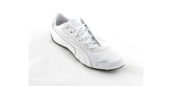 Pánske biele Puma tenisky so striebornou potlačou