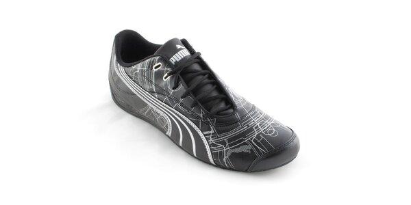 Pánske čierne tenisky Puma so striebornou potlačou
