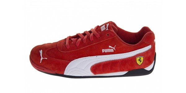 Červené semišové tenisky Puma Ferrari s bielymi detailami 1a9294039d8