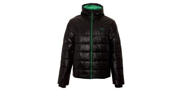 Pánska čierna zimná prešívaná bunda Puma so zelenými detailami