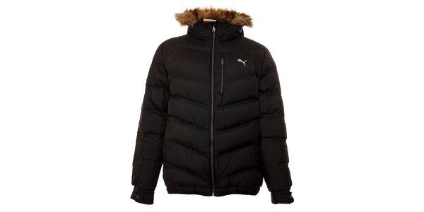 Pánska čierna páperová bunda Puma s kožúškom