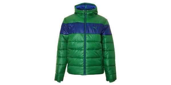 Pánska zelená zimná prešívaná bunda Puma s modrým pruhom