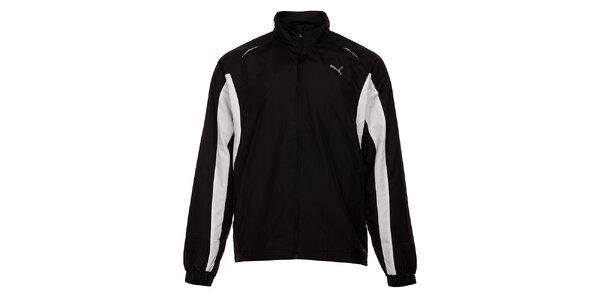 66a7c5c6baff7 Pánska čierna športová bunda Puma s bielymi detailami