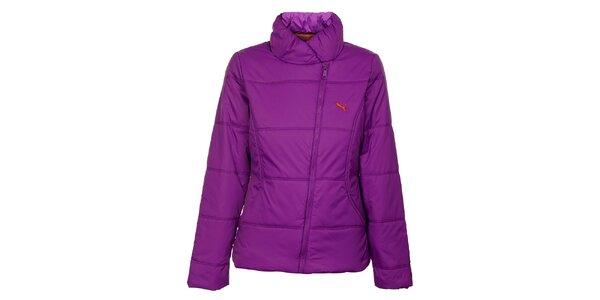 Dámska sýto fialová zimná prešívaná bunda Puma so šikmým zipsom
