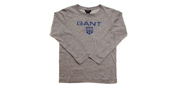 Detské svetlo šedé tričko Gant s modrým logom