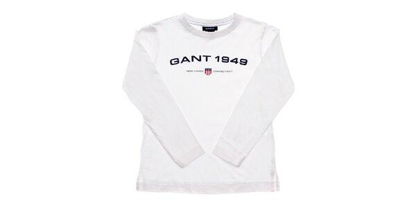 Detské biele tričko Gant s potlačou