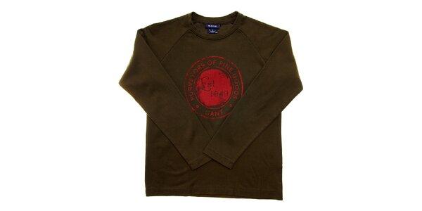 Detské khaki tričko Gant s potlačou