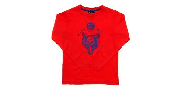 Detské červené tričko Gant s modrou potlačou