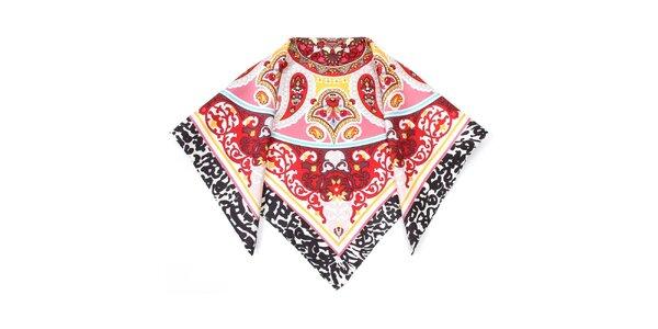 Dámska hodvábna šatka s červeným vzoromFraas