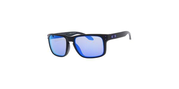 Hranaté čierne slnečné okuliare s fialovými sklami Oakley