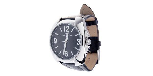 Pánske čierne hodinky Tom Tailor s koženým remienkom