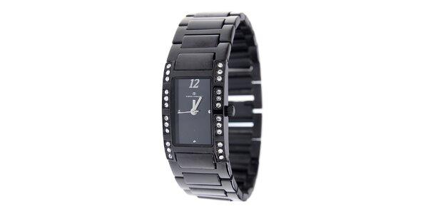 Dámske čierne oceľové hodinky Tom Tailor s kamienkami