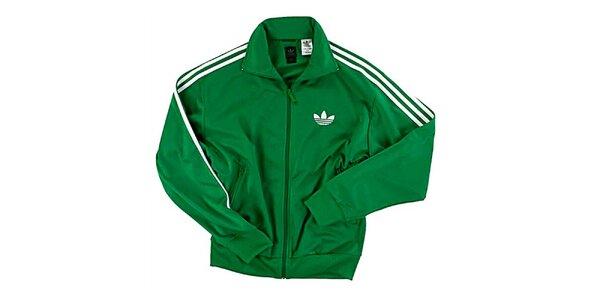 Pánska zelená tepláková bunda Adidas