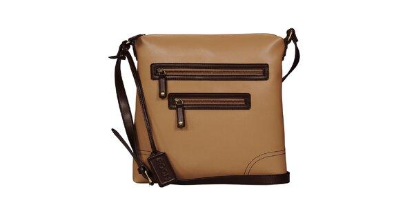 Dámska béžová kabelka s hnedými lemmi POON Bags