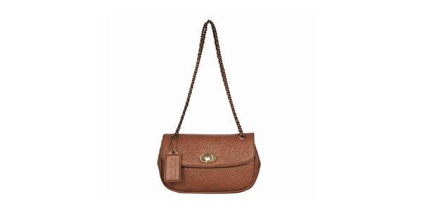 Dámska koňakovo hnedá vzorovaná kabelka POON Bags