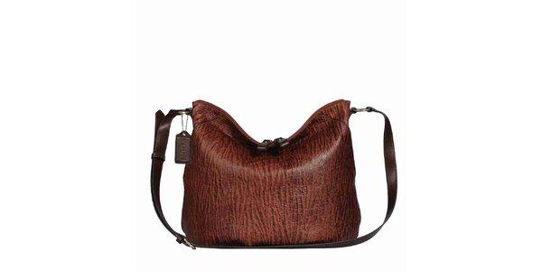 Dámska hnedá žíhaná kabelka s popruhom POON Bags