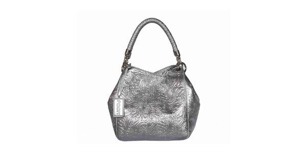 Dámska strieborná vzorovaná kabelka POON Bags