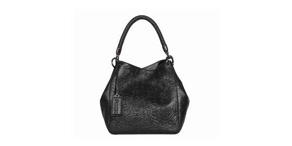 Dámska čierna vzorovaná kabelka POON Bags