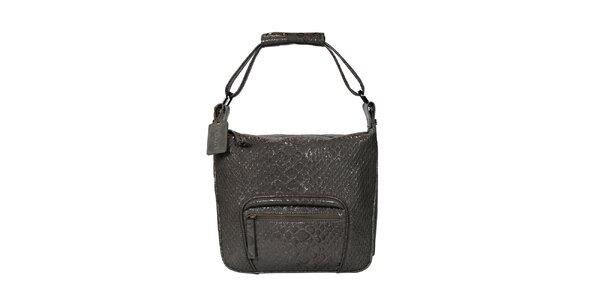 Dámska šedá kabelka s motívom hadej kože POON Bags