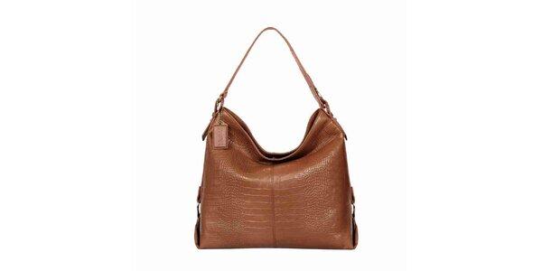 Dámska lesklá svetlo hnedá kabelka POON Bags
