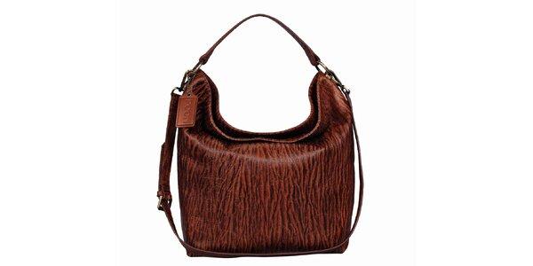 Dámska hnedá kožená kabelka s potlačou POON Bags