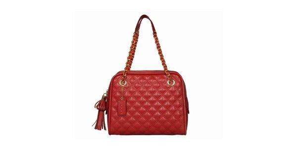 Dámska červená prešívaná kabelka so strapcami POON Bags