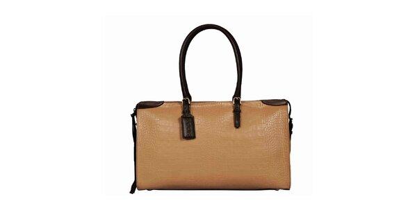 Dámska obdĺžniková béžovo-hnedá kabelka POON Bags