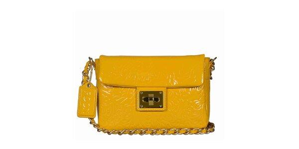 Dámska žltá lakovaná kabelka s retiazkou POON Bags