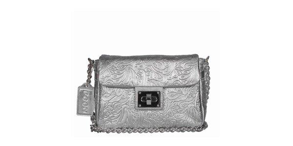 Dámska strieborná kabelka s retiazkou POON Bags