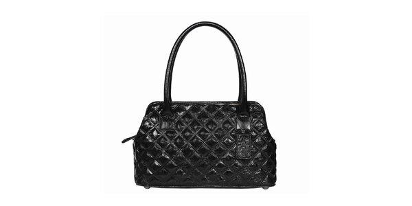 Dámska čierna prešívaná lesklá kabelka POON Bags