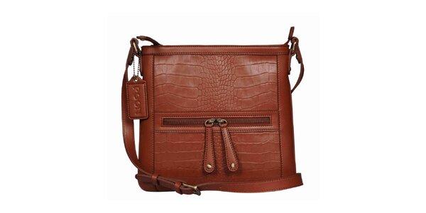 Dámska koňakovo hnedá kabelka s popruhom POON Bags