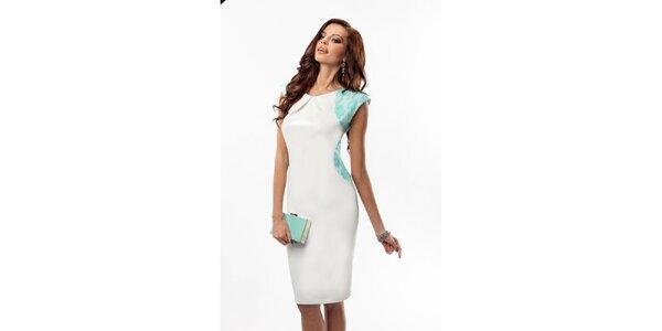 Dámske biele šaty so zelenou čipkou Enny