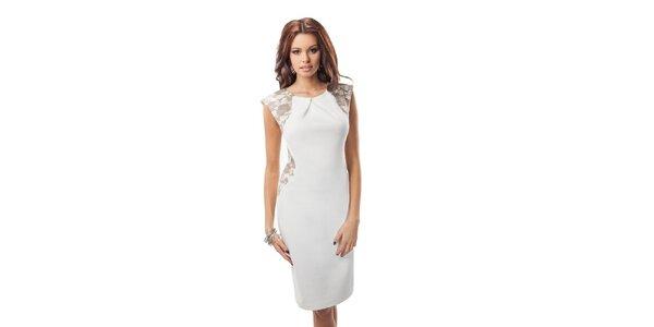 Dámske biele šaty s hnedou čipkou Enny