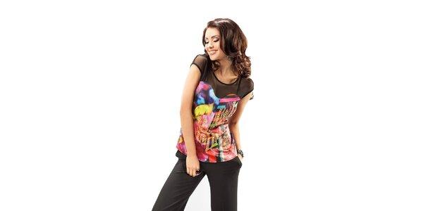 Dámsky top s potlačou a transparentnými ramenami Enny
