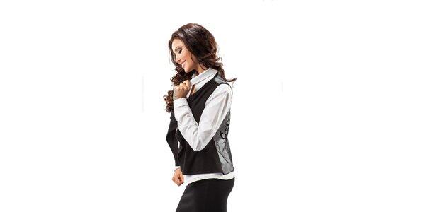 Dámska čierna vesta s transparentným chrbtom Enny