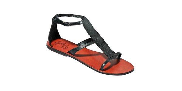 Dámske čierne sandálky s farebnou stielkou Gallaz