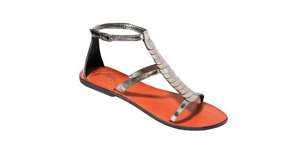 Dámske metalické sandálky s farebnou stielkou Gallaz