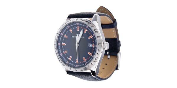 Štýlové oceľové hodinky Tom Tailor s čiernym koženým remienkom