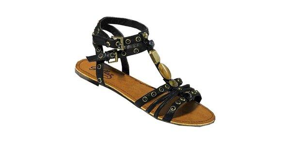 Dámske čierne remienkové sandále Gallaz