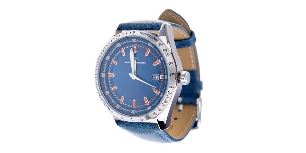 Štýlové tmavo modré hodinky Tom Tailor s koženým remienkom