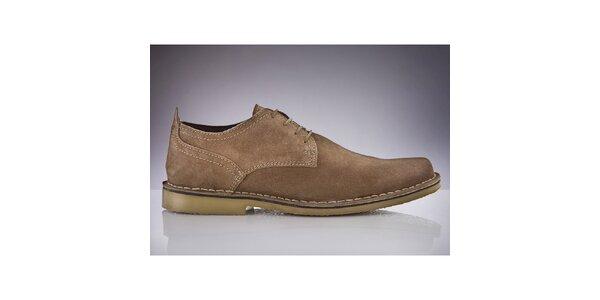 Pánske svetlo hnedé semišové topánky Roamers
